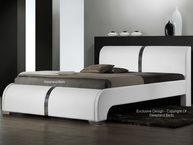 Ebony contemporary leather bed white faux leather 5ft kingsize - Beds styles pictures ...