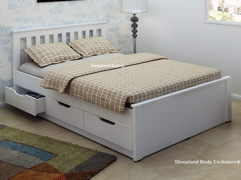 White wooden storage bed frame with drawers 4ft6 double for Double bed with drawers and mattress