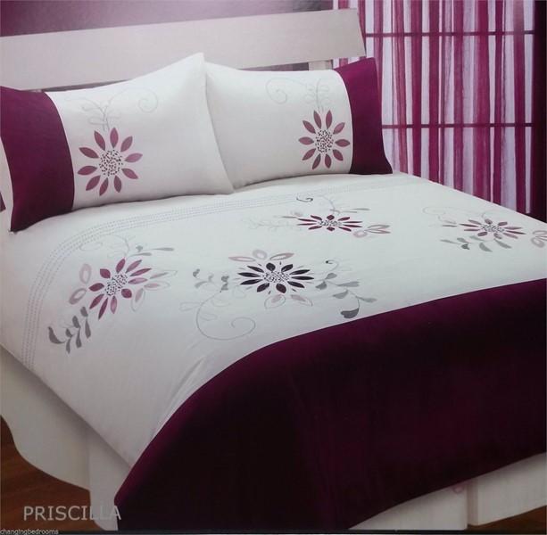 Double Size Plum Purple Priscilla Embellished Duvet Cover Set