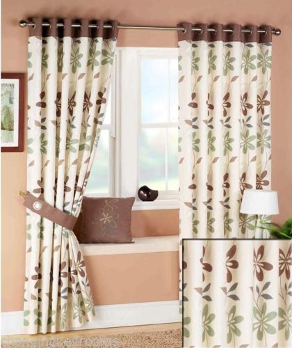 Changingbedrooms.com FLORAL ARIEL RING TOP CHOCOLATE GREEN CREAM ...
