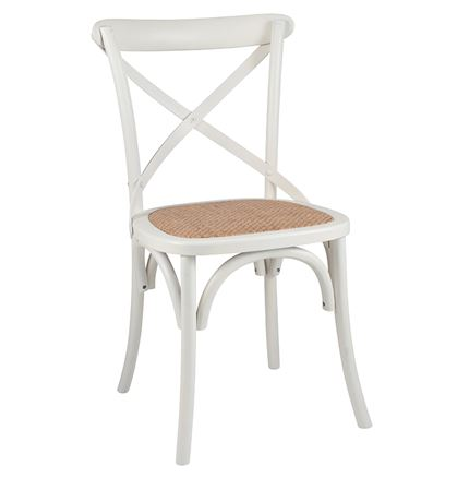 Antique White Elm Wood & Rattan - Cross back bentwood -Dining Chair