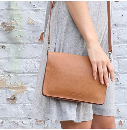 Bina Clutch Bag in Tan Leather