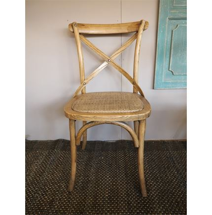 Bistro Cross Back / bent wood Dining Chair - oak finish