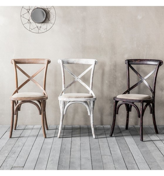 Cafe Chair Cross Back Bentwood Dining Chair With Upholstered Seat    Distressed Black Finish