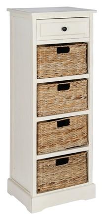 Cream Wood 1 Drawer 4 Basket Unit