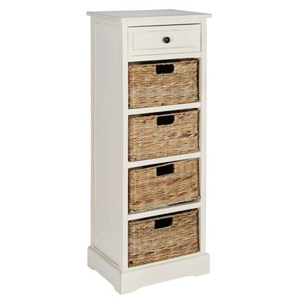 Cream Wood 1 Drawer 4 Basket Unit