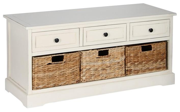 Cream Wood 3 Drawer 3 Basket Unit