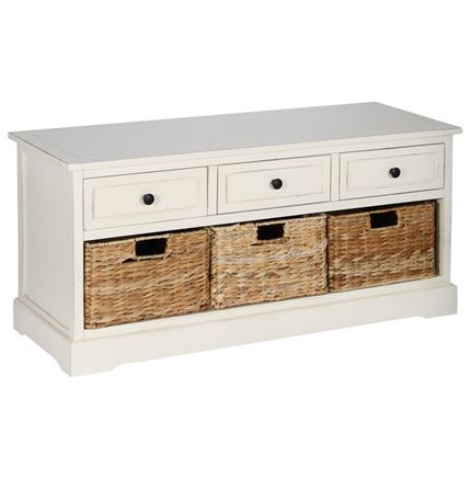 Cream Wood 3 Drawer 3 Basket Unit