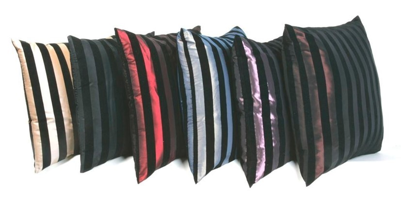 Cushions with flock stripes (56cm)