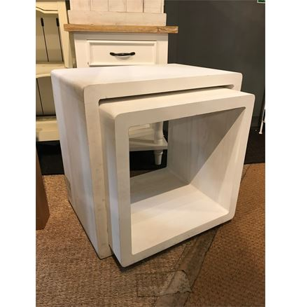 EX Display Nest of 2 Tables - White Wash