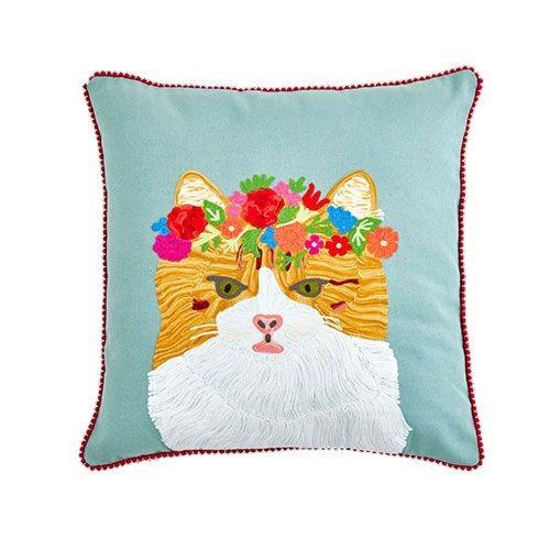 Floral Tabby Cat Cushion