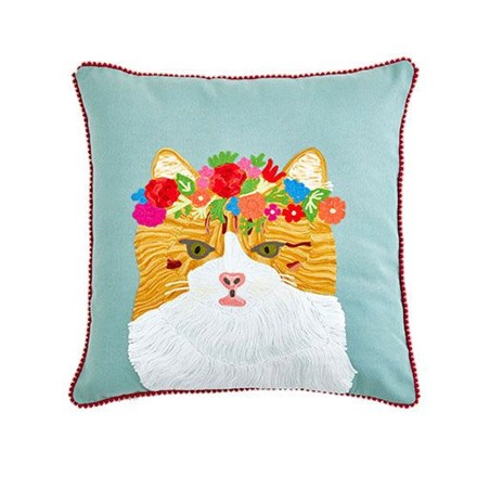 Floral Tabby Cat Cushion