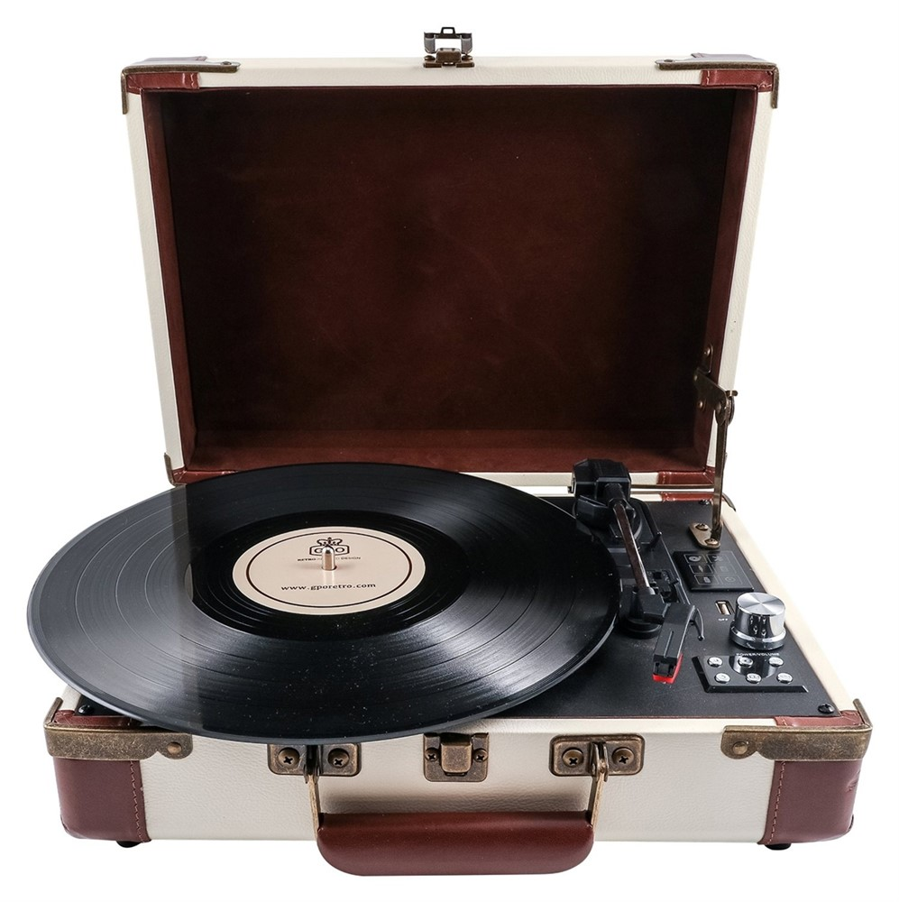 GPO Ambassador Stand Alone Turntable with Bluetooth & Built-In Speakers - Cream / Tan