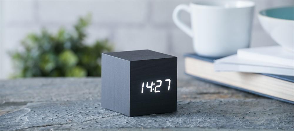 Gingko Cube Clock - Black