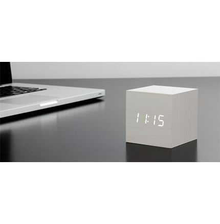 Gingko Cube Clock - White