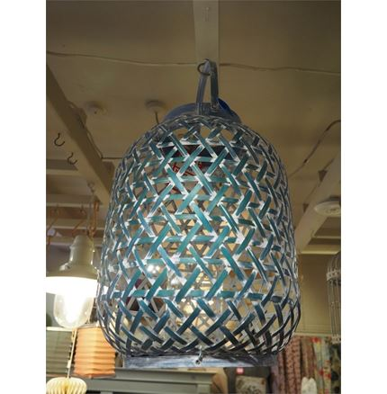 Large Lantern candle Holder - Distressed Blue
