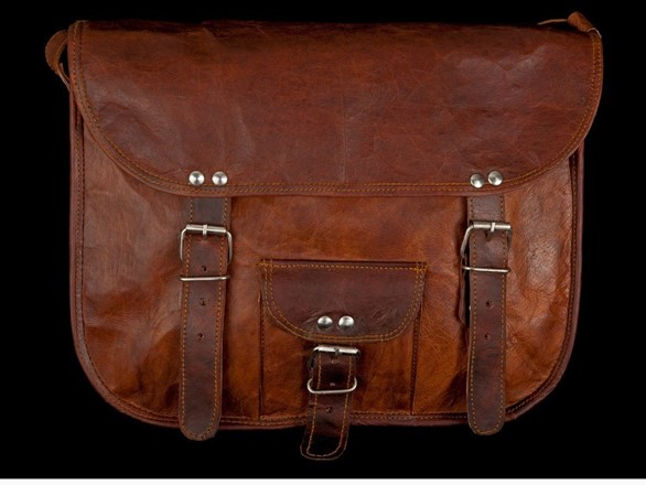 Leather Bag - 11 inch round edge Satchel