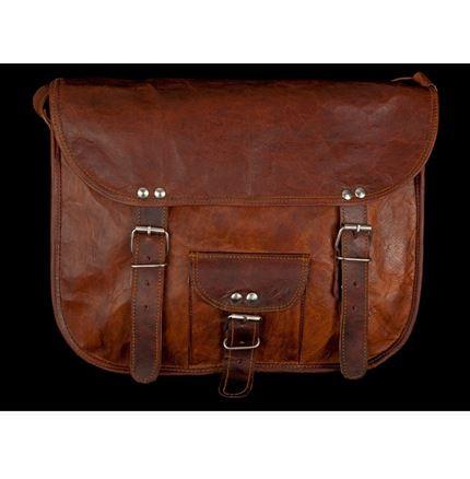 Leather Bag - 11 inch round edge Satchel