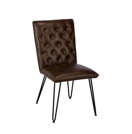 Lewis Dining Chair - Real Bonded Leather - Dark Brown