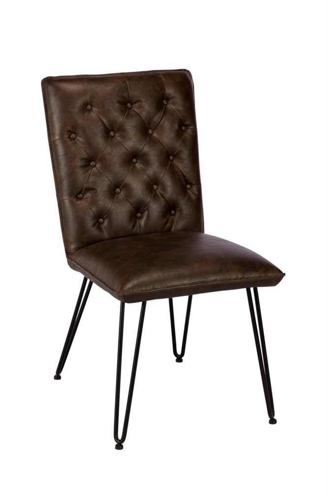 Lewis Dining Chair - Real Leather - Dark Brown