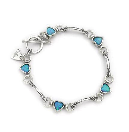 Opal hearts links bracelet