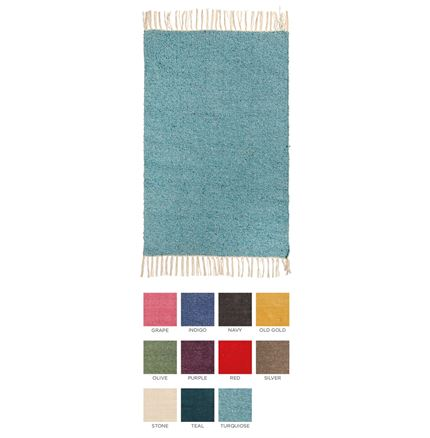 Plain Recycled Yarn Rug - 90 x 60cm - assorted colours