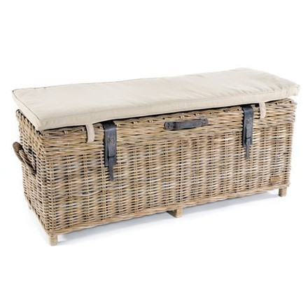 Rattan Storage Bench + cafe chair in distressed white - Gatek order