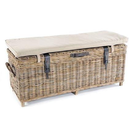 Rattan Storage Bench + cafe chair in distressed white - Gatek order