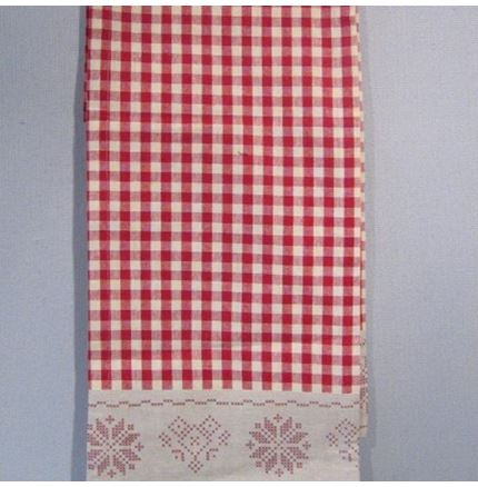 Red Gingham Runner with Snowflake Edge - christmas decoration table cloth