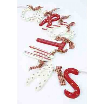 Red & White Christmas Wooden Garland