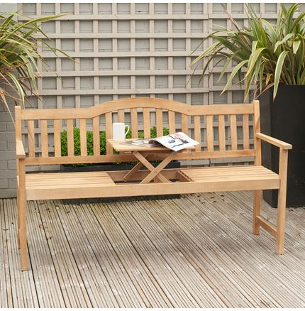 Richmond Light Teak Acacia Wood Bench with Pop Up Table - Outdoor Rattan Furniture