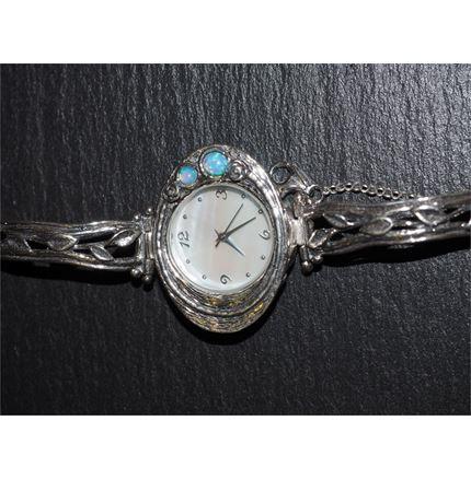 Silver watch - Oval Face - Blue opal