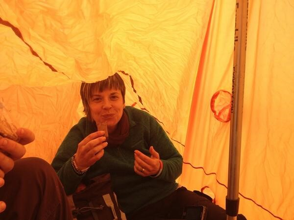 mountain safety - lunch top in storm shelter / bothy bag