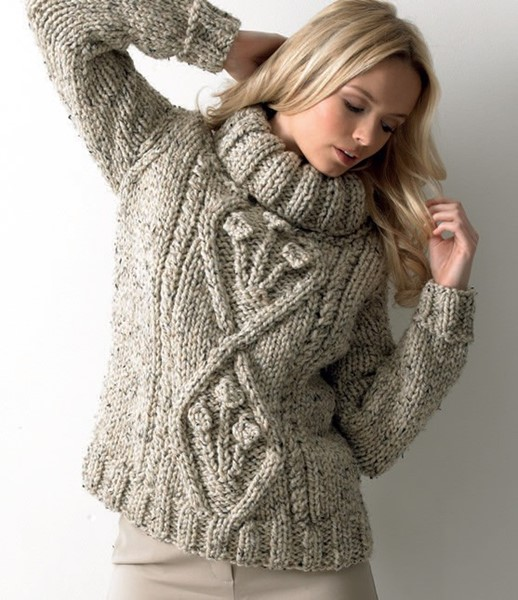 james c brett rustic mega sweater pattern jb111. Black Bedroom Furniture Sets. Home Design Ideas