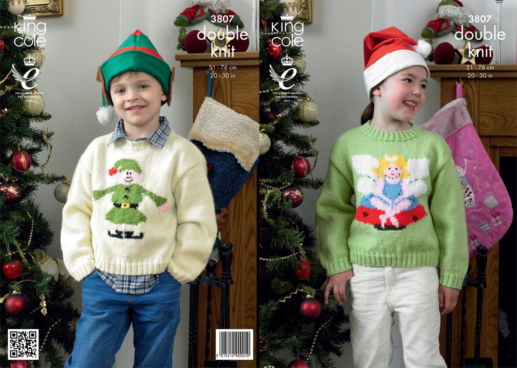 Christmas Elf Jumper Knitting Pattern : King Cole Christmas DK Pattern KC3807
