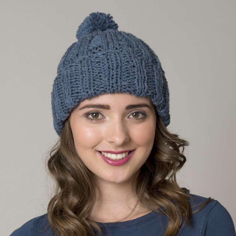 Knitting Pattern For Bobble Hat : wool4less Denim Bobble Hat Knitting Kit