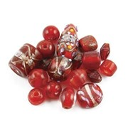 Glass Beads Mixed Red Including Foils 100gr pack (click for larger image)