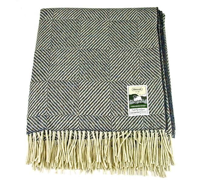 Glencroft 100 Wool Blanket Navy Herringbone Squares