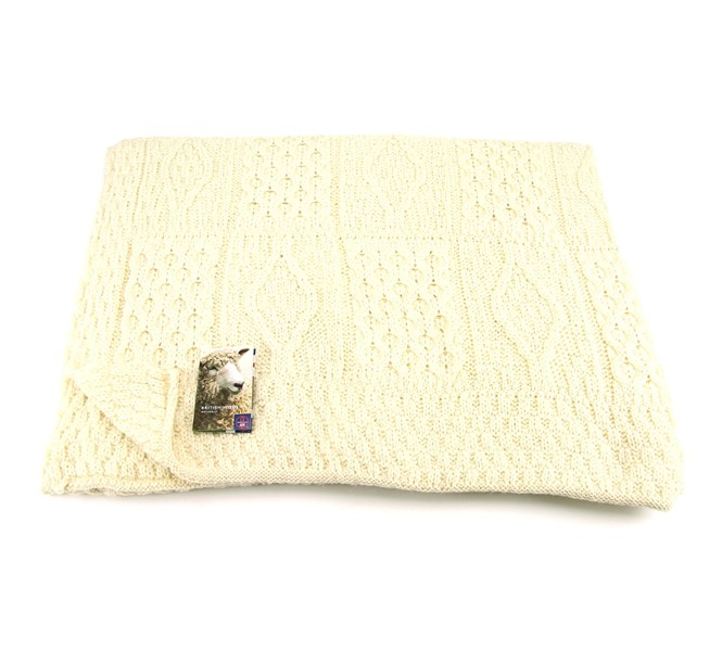29015ea2dc8c4 Wool Blanket Online. British made gifts. Knitted Aran Wool Throw - British  Made with British Wool - Cream