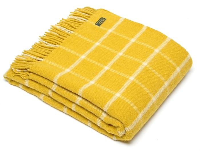 91d41ae8dd Wool Blanket Online. British made gifts. Windowpane Check Pure New Wool  Throw - Yellow