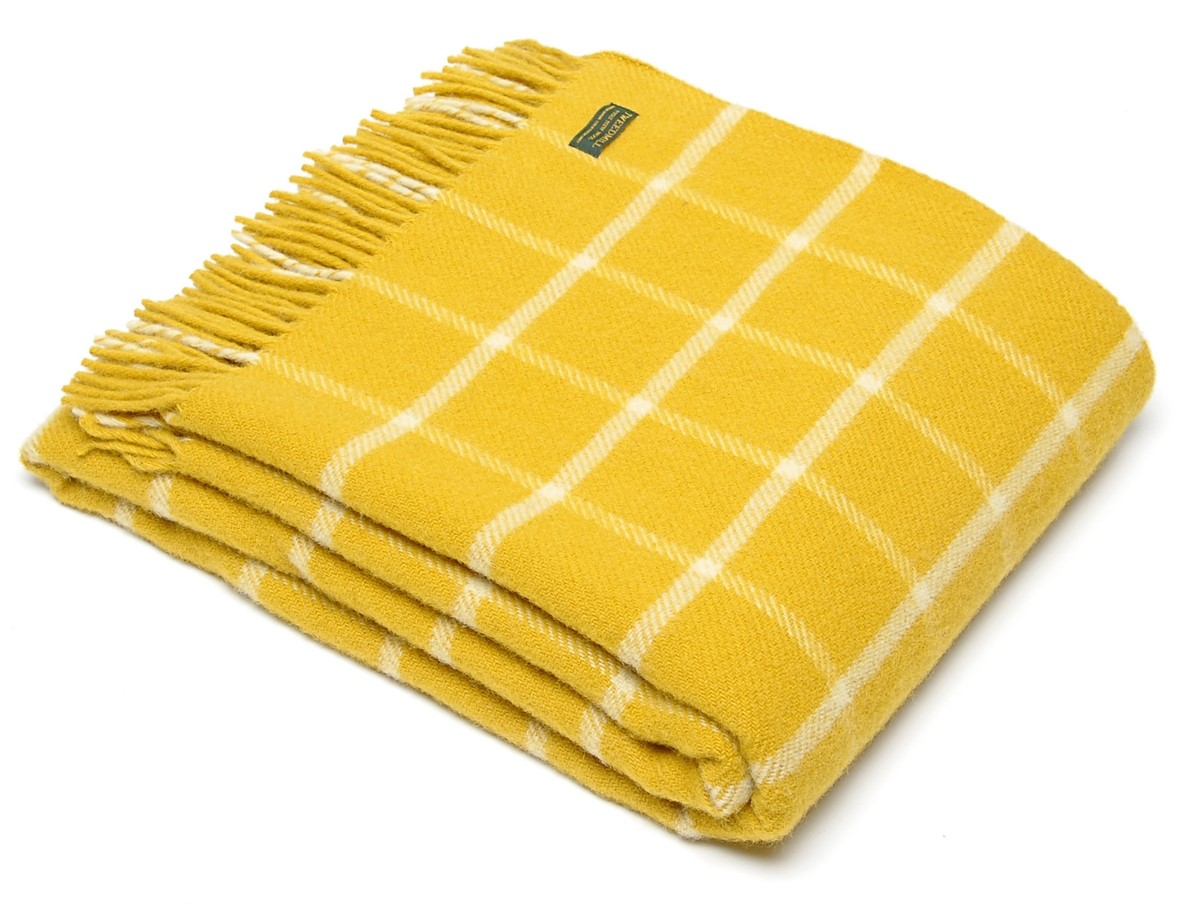 Windowpane Check Wool Throw Mustard Yellow